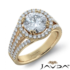 Trio Shank Halo Sidestone Round diamond engagement Ring in 14k Gold Yellow
