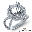 2 Row Halo Diamond Engagement Ring 14k White Gold Round Semi Mount Band 0.9Ct - javda.com