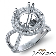 2 Row Halo Diamond Engagement Ring 14k White Gold Round Semi Mount Band 0.90Ct
