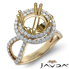 2 Row Halo Diamond Engagement Ring 14k Gold Yellow Round Semi Mount Band  (0.9Ct. tw.)