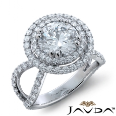Duet Halo Pave Split Shank Round diamond engagement Ring in 14k Gold White