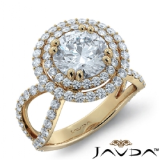 Split Shank Double Halo Round diamond engagement Ring in 14k Gold Yellow