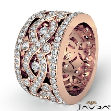 Twist Pave Round Diamond Band Womens Eternity Anniversary Ring 14k Rose Gold  (2.5Ct. tw.)