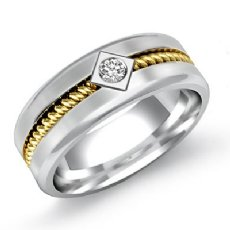 Men's Round Diamond Wedding Band Polished Rope Design 14k 2 Tone Gold 0.10 Ct
