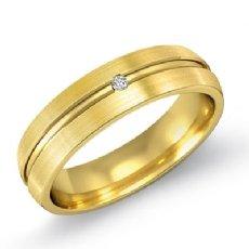 Matte Finish Center Dome Men's Diamond Wedding Band 18k Gold Yellow  (0.15Ct. tw.)