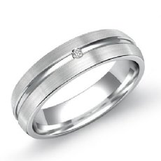 Matte Finish Center Dome Men's Diamond Wedding Band 14k White Gold 0.15 Ct