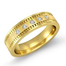 5 Round Cut Bezel Diamond Men's Brushed Wedding Band 14k Gold Yellow  (0.1Ct. tw.)