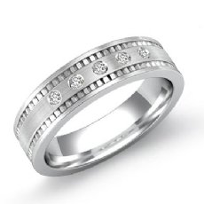 5 Round Cut Bezel Diamond Men's Brushed Wedding Band 14k White Gold 0.10 Ct