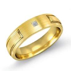 Grooved Design Matte Finish Men's Diamond Wedding Band 18k Gold Yellow  (0.15Ct. tw.)