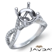 French Cut Pave Diamond Engagement Ring 14k White Gold Round Semi Mount 0.44Ct - javda.com