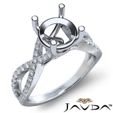 French Cut Pave Diamond Engagement Ring 14k White Gold Round Semi Mount 0.44Ct