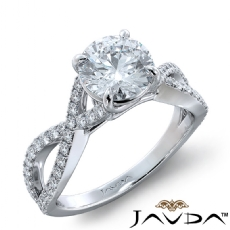 Cross Shank French Pave Set Round diamond engagement Ring in 18k Gold White