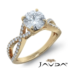 French Pave Sidestone Round diamond engagement Ring in 14k Gold Yellow