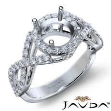 Halo XOXO Diamond Engagement Ring 14K White Gold Round Semi Mount Band 0.90Ct