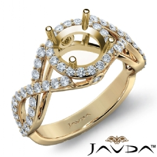 Halo XOXO Diamond Engagement Ring 18k Gold Yellow Round Semi Mount Band  (0.9Ct. tw.)