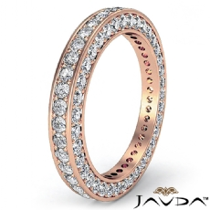 Vintage Round Pave Diamond Eternity Ring Women's Wedding Band 18k Rose Gold  (1.58Ct. tw.)