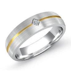 14k 2 Tone Gold Bezel Set Matte Finish Men's Diamond Wedding Band 0.15 Ct