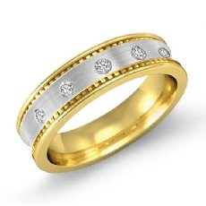 Polish Edge Matte Center Men's Diamond Half Wedding Band 14k 2 Tone Gold 0.10 Ct