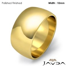 Men Plain Dome Polish Wedding Band Solid Ring 10mm 18k Gold Yellow 9.1g 4