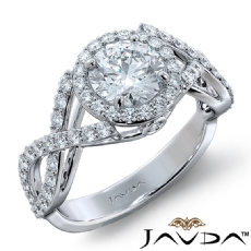 Criss Cross Shank Halo Pave Round diamond engagement Ring in 14k Gold White