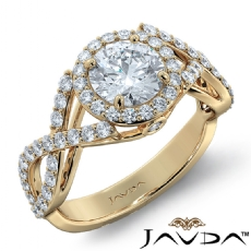 Criss Cross Shank Halo Pave Round diamond engagement Ring in 14k Gold Yellow