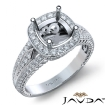 Diamond Vintage Engagement Halo Ring Cushion Semi Mount 14k White Gold Band 0.8Ct - javda.com
