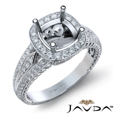 Diamond Vintage Engagement Halo Ring Cushion Semi Mount 14K White Gold 0.80Ct