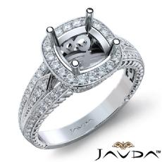 Diamond Vintage Engagement Halo Ring Cushion Semi Mount 14K White Gold 0.80Ct
