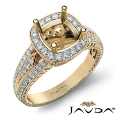 Diamond Vintage Engagement Halo Ring Cushion Semi Mount 14k Gold Yellow Band  (0.8Ct. tw.)
