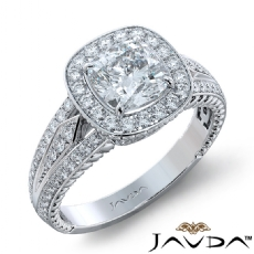 3 Row Shank Halo Filigree Cushion diamond engagement Ring in 18k Gold White
