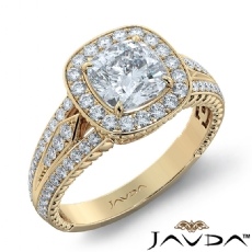 3 Row Shank Halo Filigree Cushion diamond engagement Ring in 14k Gold Yellow