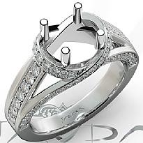 Diamond Engagement Ring 14k White Gold Round Semi Mount Pave Set Band 0.90Ct