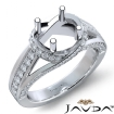 Diamond Engagement Ring 14k White Gold Round Semi Mount Pave Set Band 0.9Ct - javda.com