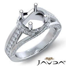 Diamond Engagement Ring 18k Gold White Round Semi Mount Pave Set Band  (0.9Ct. tw.)