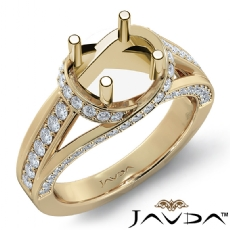 Diamond Engagement Ring 18k Gold Yellow Round Semi Mount Pave Set Band  (0.9Ct. tw.)