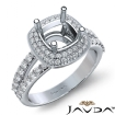 2 Row Halo Pave Diamond Engagement Cushion Ring 14k White Gold Semi Mount 0.7Ct - javda.com