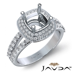 2 Row Halo Pave Diamond Engagement Cushion Ring 14K White Gold Semi Mount 0.70Ct