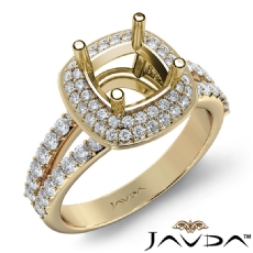 2 Row Halo Pave Diamond Engagement Cushion Ring 14k Gold Yellow Semi Mount  (0.7Ct. tw.)