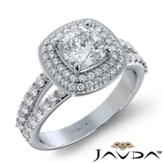 Double Halo Pave Sidestone Cushion diamond engagement Ring in 14k Gold White