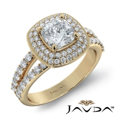 Double Halo Pave Sidestone Cushion diamond engagement Ring in 14k Gold Yellow