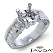 Bezel Channel Set Diamond Engagement Ring 14k White Gold Round Semi Mount 0.9Ct - javda.com