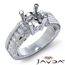 Bezel Channel Set Diamond Engagement Ring Platinum 950 Round Semi Mount  (0.9Ct. tw.)