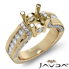 Bezel Channel Set Diamond Engagement Ring 18k Gold Yellow Round Semi Mount  (0.9Ct. tw.)