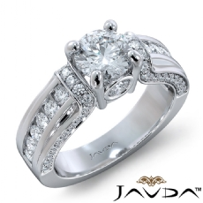 Pave Channel Set Accents Round diamond engagement Ring in 18k Gold White