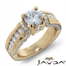 Bezel Channel Set Sidestone Round diamond engagement Ring in 14k Gold Yellow
