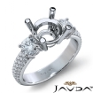 3 Stone Diamond Engagement Ring Round Semi Mount Prong Set 14k White Gold 0.9Ct - javda.com