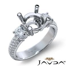 3 Stone Diamond Engagement Ring Round Semi Mount Prong Set 14k White Gold 1.35Ct