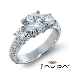 3 Stone Sidestone Pave Set Round diamond engagement Ring in 14k Gold White