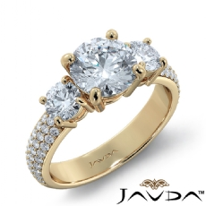 Classic Three Stone Pave Set diamond Ring 14k Gold Yellow