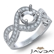 Halo Set Diamond Engagement 14k White Gold Round Semi Mount Milgrain Ring 0.45Ct - javda.com